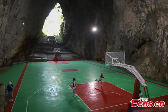 Guizhou's Karst cave houses basketball court