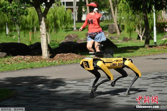 Robot dog enforcing social distancing in Singapore