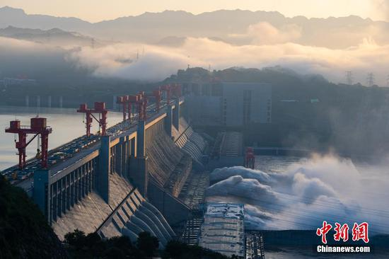 Floodwater discharged from Three Gorges Dam in Hubei