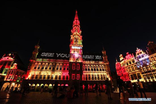 Sound and light show held at Grand Place in Brussels, Belgium