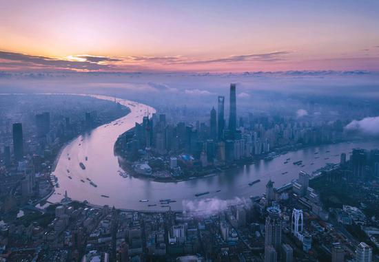Aerial photo taken on June 21, 2018 shows morning view of the Lujiazui area in Pudong of Shanghai, east China. (Xinhua/Ren Long)