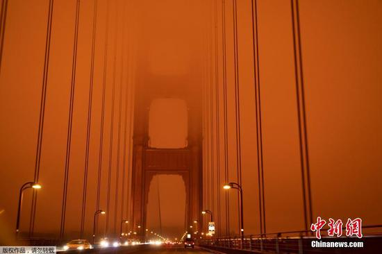 Sky over San Francisco turns orange due to wildfire smoke